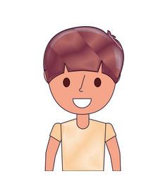 happy cartoon boy young character portrait vector image