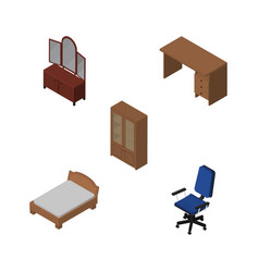 Isometric furnishing set of table bedstead vector