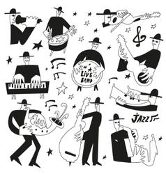 jazz musicians - doodles set vector image vector image