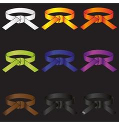Karate do martial arts color belts icons set eps10 vector