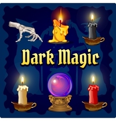 Magic objects on a dark blue background vector image vector image