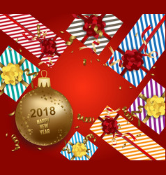 Merry christmas and happy new year 2018 with gift vector