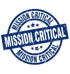 Mission critical blue round grunge stamp vector