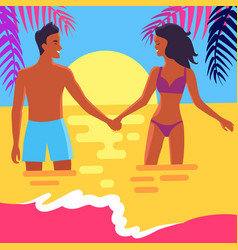 Poster of happy couple standing in sea at sunset vector