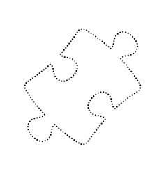 Puzzle piece sign black dotted icon on vector