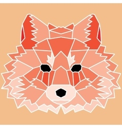 Red low poly lined fox vector image vector image