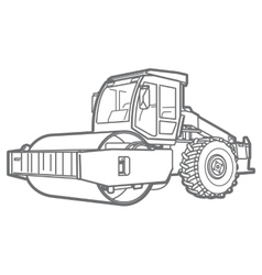 Road Roller outline Asphal paver vector image