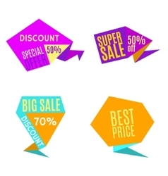 Sale Discount Origami Labels vector image vector image