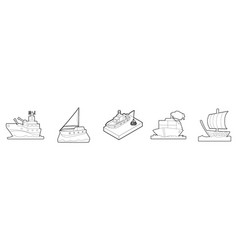 ship icon set outline style vector image vector image