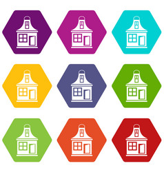 small house icon set color hexahedron vector image vector image