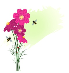 Springtime colorful flower with bees vector