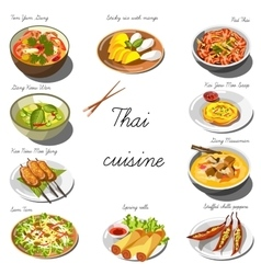 Thai cuisine set collection of food dishes vector