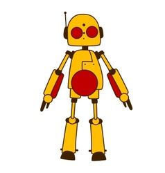 Toy robot or alien in bright yellow vector