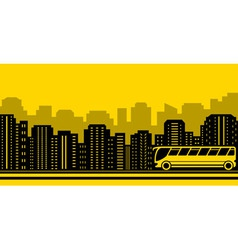 transport background with town and bus vector image