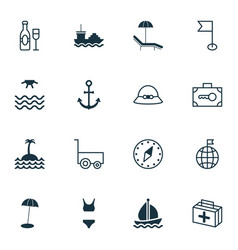 travel icons set collection of security baggage vector image vector image