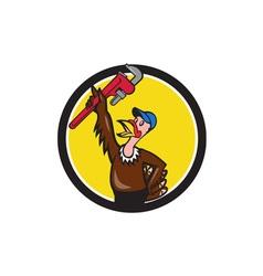 Turkey plumber raising wrench circle cartoon vector