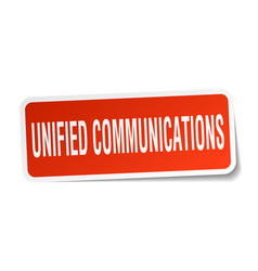 Unified communications square sticker on white vector