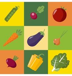 Vegetables set healthy food pepper eggplant peas vector