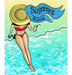 vintage pop art summer time vector image vector image