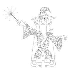 Wizard with magic wand outline vector