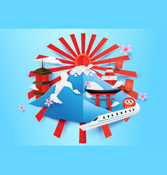 Japan travel concept background paper art style vector