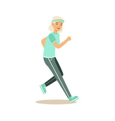 Active senior runner woman doing exercise to stay vector