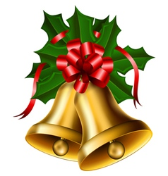 Christmas bells with red bow vector