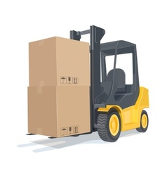 Loader car with boxes vector