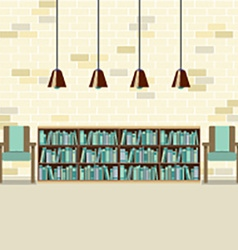 Reading Seats With Bookcase vector image