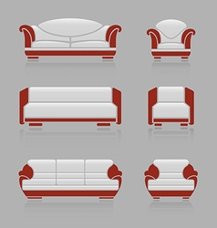 Set of sofas and armchairs vector