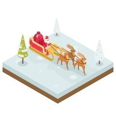 Santa Claus Grandfather Frost Sleigh Reindeer vector image