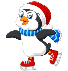 Cute cartoon penguin doing ice skating isolated vector