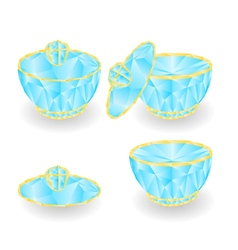 Sugar bowl polygons part of porcelain vector