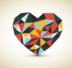 retro skladane srdce vector image