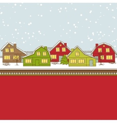 Christmas card cute little town in winter vector