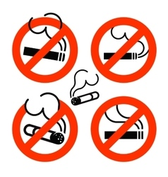 Cigarette icons set no smoking prohibition sign vector