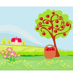 Apple tree and cottage landscape vector