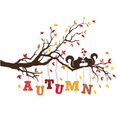 Autumn tree with squirrels vector image vector image