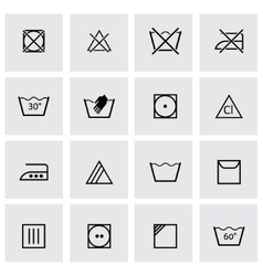 black washing signs icon set vector image vector image