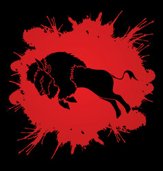 buffalo jumping graphic vector image vector image