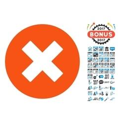 Cancel icon with 2017 year bonus pictograms vector