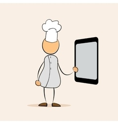 cartoon chef with menu tablet vector image vector image