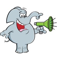 cartoon elephant holding a megaphone vector image vector image