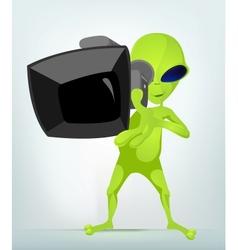 Cartoon video cameraman alien vector