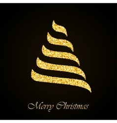 Christmas tree gold glitter greeting card vector