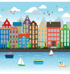 City on river vector image vector image