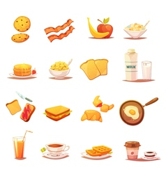 Classic Breakfast Elements Retro Icons Set vector image