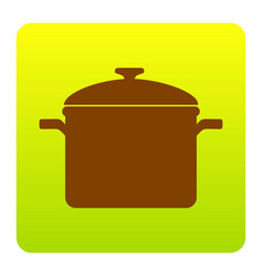 Cooking pan sign brown icon at green vector