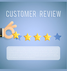 customer experience review hand holding star vector image vector image