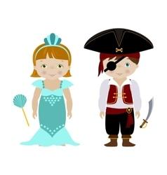 Cute kids in halloween costumes cartoon vector image vector image